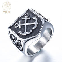 Custom Stainless Steel Ring Signet Ring for Men 316L Titanium Pirate Marine Punk Rock Silver Color Mens Party Rings Gift VCOOL