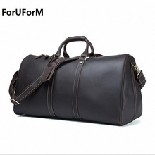 Men's big capacity genuine leather travel bag durable crazy horse leather travel duffle Real leather shoulder boston bag LI-1775