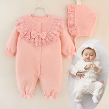 2017 New Fall Winter Baby Girl Cotton Lace Jumpsuit Rompe Overall with Cap White Pink Sleeping Bag Infant Clothes Born 3m 6m 9m(China)