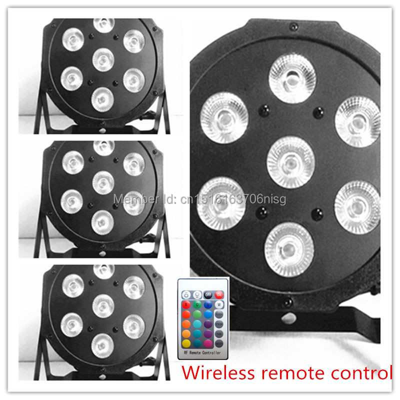 4 pieces Promotional Packaging HOT Wireless remote control American LED SlimPar 7x12W RGBW 4IN1 DMX Stage Light chandelier<br>