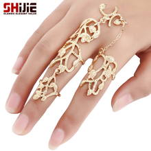 SHIJIE Boho Lovely Gold Silver color Long Rings for Women Hollow Botany Men's Big Ring Fashion Jewelry Anillos Bague Femme Gifts