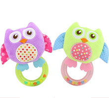 new arrival kid infant mini smiling owl baby toy rattle crinkle rings hang for child gift plush stuffed