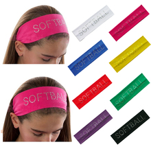 "Rhinestone ""SOFTBALL"" 2"" Cotton Stretch Headbands Softball Crystal Bling Elastic Hairband Sweat Hair Accessories(China)"