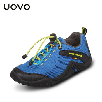 UOVO 2017 breathable aqua children sport shoes unisex textile outdoor shoes for child elastic band slip-resistant casual shoes