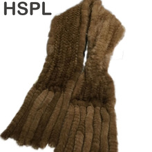 HSPL Hot sale Real Mink Fur Scarf Women Knitted Natural Mink Fur Scarves Black and Brown color scarf available