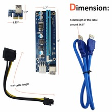 2YDREAM BLUE 60cm PCI-E extender PCI Express Riser Card 1x to 16x USB 3.0 SATA to 4Pin IDE Molex Power for BTC Miner Machine(China)