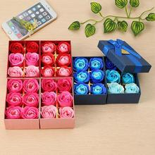 Scented Bath Soap Rose Soap Flower Petal with Gift Box For Mother's day Gift Wedding Valentine's Day 6Pcs / Set Present 45(China)