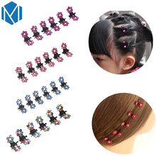 12pcs/pack Children Flower Hair Claws Hairpins Hair Accessories Cute Shiny Rhinestone Hair Clips Headwear Girls Hairgrip Clamps