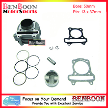 GY6 100cc 50mm Big Bore Cylinder Kit 139QMA 139QMB Chinese Scooter Parts ATV Parts Znen Baotian Taotao Roketa Baja Free Shipping