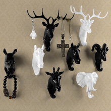 Pure color black/white/gold animal head hook resin craft key/cap/clothes claw 3D animal Mural decorative hook ornament hanger(China)