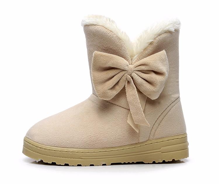 Women Snow Boots 2016 Warm Solid Plus Velvet  Flat Women Boots Winter Bowtie Casual Shoes Round Toe Wild Ladies Shoes SNF905 (10)