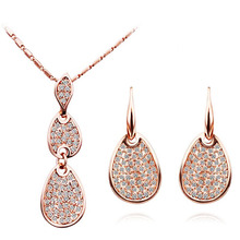 tiger totem Free Shipping UK kate queen rose water drop design popular rhinestones austrian crysal Pendant Necklace Earrings set