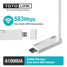 TOTOLINK A1000UA Wireless Network Card 11AC 600Mbps Dual Band USB WiFi Adapter LAN Card with 1*5dBi External Antenna(China)