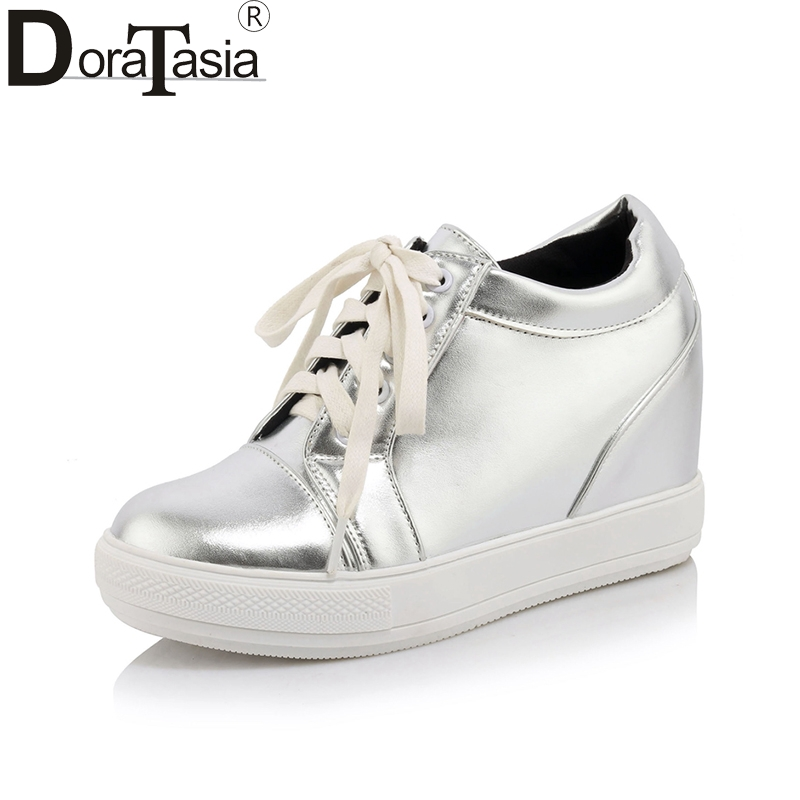 DoraTasia 2018 New Arrival Spring Autumn Patent Plus Size 32-45 Platform Shoes Woman Lace Up Height Increasing Women Shoes<br>
