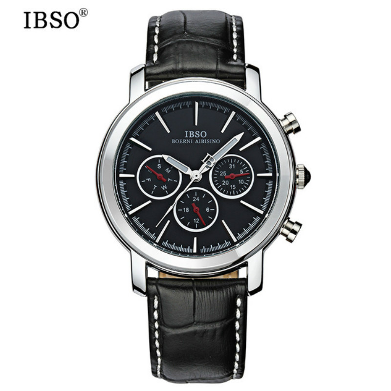 IBSO Multifunction Clock Watches Mens 2017 Luxury Brand  Genuine Leather Strap Black Watches Waterproof Relogio Masculino #6809 <br>