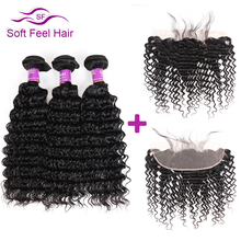 Soft Feel Hair Deep Wave Brazilian Hair Lace Frontal Closure With Bundles Human Hair 3/4 Bundles With Frontal Non Remy Weave(China)