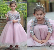 Hot Sales Princess Birthday Dress For Little Girls Appliqued Sleeves Ankle Length Flower Girl Dresses Toddler Pageant Gown