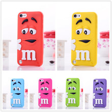 M&M Fragrance Chocolate M Rainbow Beans candy colour silicon back cover case for iPod Touch 4 4th Touch 5 5th