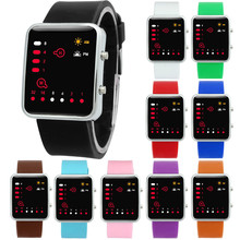 Women Mens Digital Red LED Sports Watch Binary Wristwatch Silicone(China)