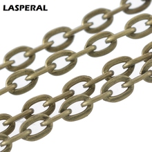 LASPERAL Fashion Long Chain Jewlery Making Supplies Antique Bronze Flat Link Chain Fit Womens Belt Bag Chain DIY Jewelry For Men