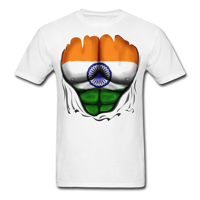 2017 Famous Brand Men S Summer India Flag Ripped Muscles Printed T Shirt Cool Top