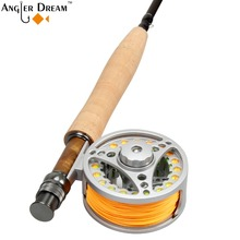 Fly Fishing Combo 5WT 9FT Carbon Fiber Fly Fishing Rod & 5/6WT Large Arbor Aluminum Fly Reel & WF 5F Fly Fishing Line Backing(China)