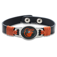6pcs/lot! Baltimore Orioles Genuine Leather Adjustable Bracelet Wristband Cuff 12mm Black Leather Snap Button Charm Jewelry(China)