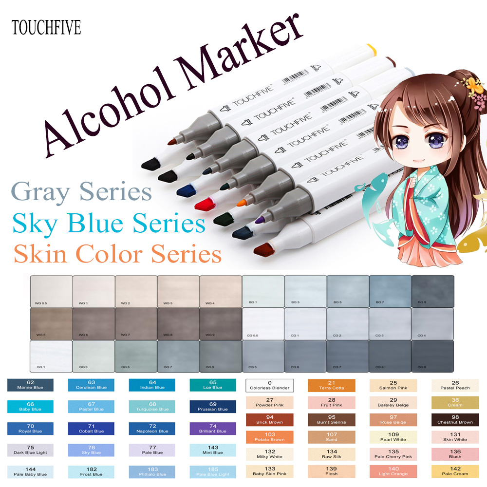 TOUCHFIVE Marker Pens Skin Tone +Grayscale +Sky blue series Double-Tip Oily Alcohol Markers pen For character Animation Manga