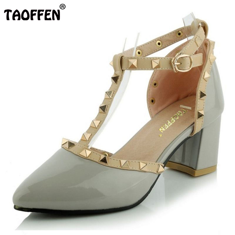 TAOFFEN Women Middle Heels Shoes Women Square Heel Sandals Ankle Wrapped Pointed Toe Rivets Quality Casual Shoes Size 31-44<br>
