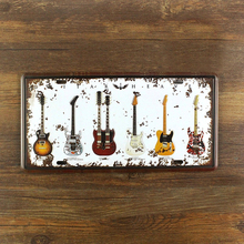 Vintage painting Music Guitar License plate metal Wall art Decor House Cafe Bar iron Doorplate decoration 15*30 CM free shipping