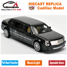 18CM Diecast Cadillac Presidential Limousine Scale Model, Metal Toys Car Collection For Kids With 6 Openable Doors(China)