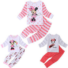 Autumn Winter Cotton Kids long slelve sleepwear set Toddler Baby Girls Carton Mouse Sleepwear Pj's Pajamas Sets 2-6Years