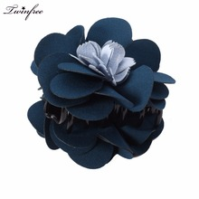 New Design Hair Accessories Two Color Cloth Flower Hair Claws Large Hairgrips Charm Fascinator Hair Clips Clamp for Women(China)