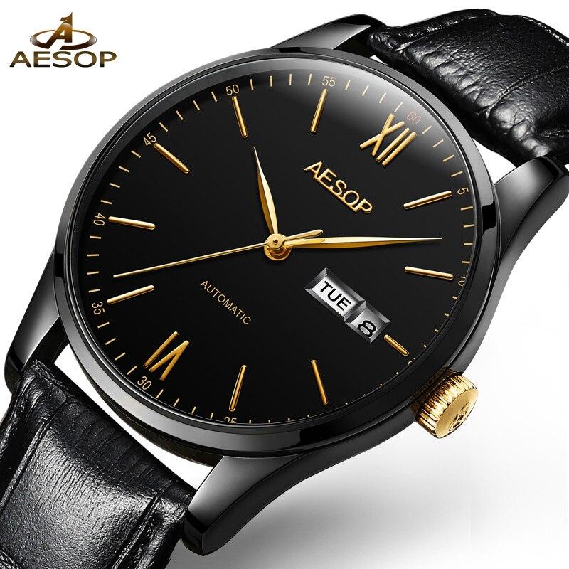 AESOP Simple Watch Men Automatic Mechanical Minimalist Thin Black Wrist Wristwatch Leather Band Male Clock Relogio Masculino 46<br>