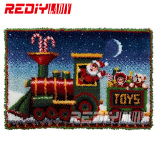 DIY Carpet Rug Santa Clause Train Blanket Latch Hook Rug Crocheting Tapestry Acrylic Yarn Cushion Set for Embroidery Floor Mat(China)