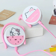 Cute hello kitty headphone pink ear hook earphones bests headphones for iphone samsung xiaomi mp3 player kids best gifts(China)