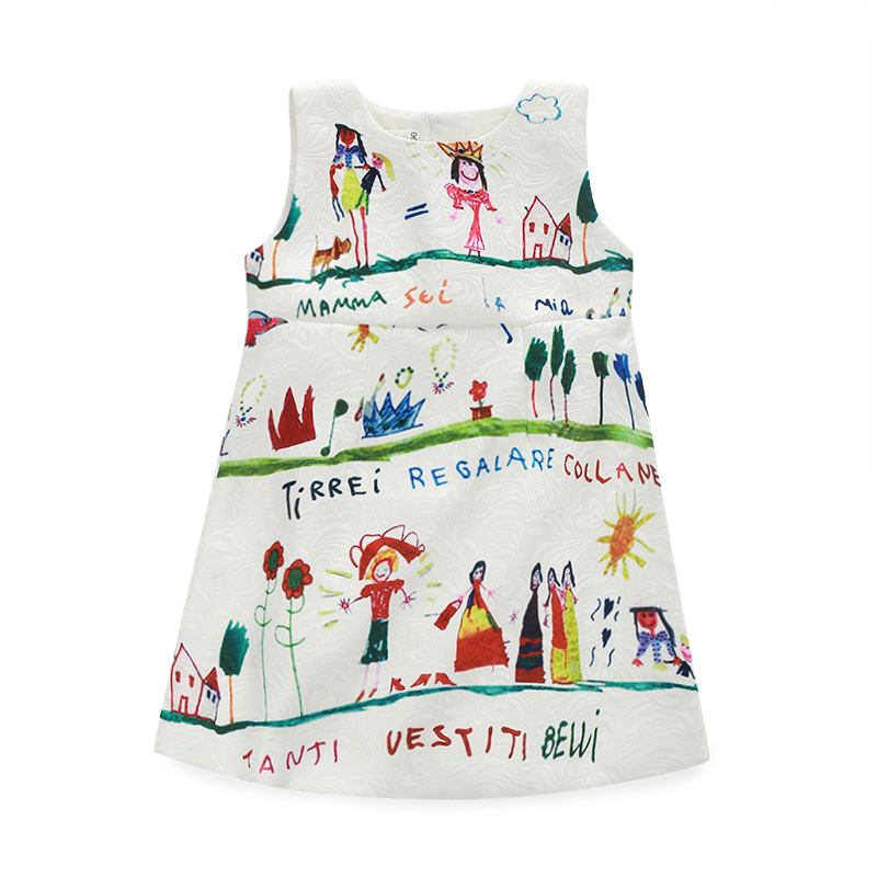 2016 summer style vestido princess cartoon dress little Girls jacquard Graffiti print sleeveless dress costume birthday Dress<br>