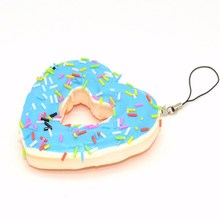Stretchy Heart-Shaped Doughnut Simulation PU Foam Cellphone Charm Strap Non-toxic Slow Rebounding Fun Phone Pendant Ornament