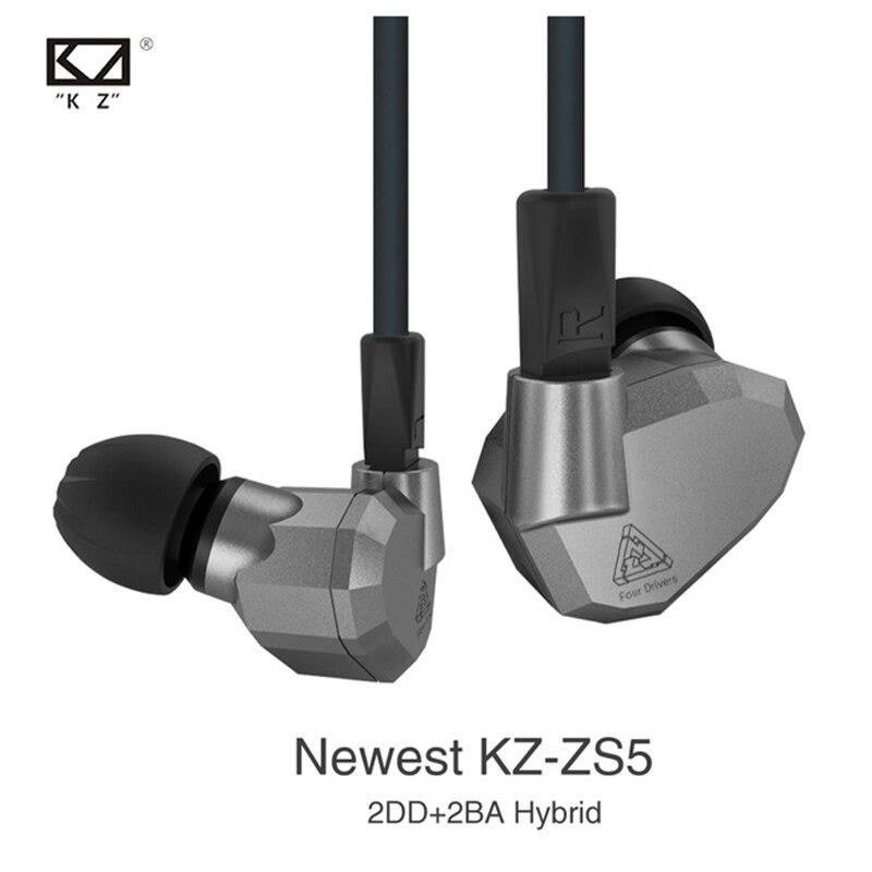 2017 NEW Arrival KZ ZS5 Monitor Earphone In-Ear 2DD+2BA Hybrid Earphone HiFi earplug Double Armature+Dynamic Sports Headsets<br>
