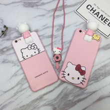 Cheap Super Cute Cartoon 3D Lay Prone Hello Kitty TPU Case Cover With Same Paragraph Lanyard For Iphone6 6S 7 6Plus 7Plus