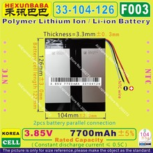 [F003] 3.85V,3.7V 7700mAh [33104126] NTC;Polymer lithium ion / Li-ion battery for MOBILE BANK,tablet pc,cell phone,POWER BANK