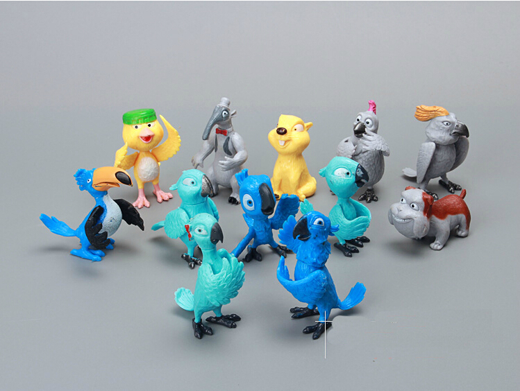 Free Shipping  Rio 2 Rio parrot Brooklyn faction Zhuo dolls doll PVC Action Figure Model Toys Dolls for Children Gifts 12pcs/set<br><br>Aliexpress