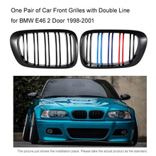 One Pair of Car Front Kidney Grille Grilles Covers with Double Line Car-styling  for BMW E46 Grill 2 Doors 1998-2001