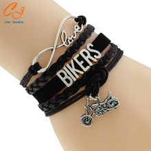 New Fashion Infinity Love Ride Biker Harley Motorcycle Bracelet Harley Fans Custom Any Themes friendship gifts Bikers Bracelets