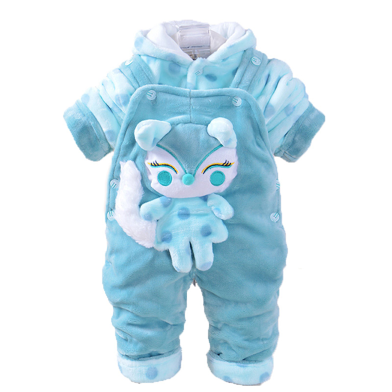 New Fashion 2pcs Baby Boy Grils Clothes Flannel Baby Clothes kids Overalls for 0-18months Baby Fox Animal Romper<br>