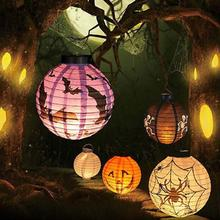 Halloween Decoration LED Paper Pumpkin Light Hanging Lantern Lamp Halloween Props Outdoor Party Supplies Wholesale