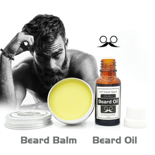 100% Natural Beard Oil plus beard care wax balm Organic Beard Conditioner Leave in Styling Moisturizing Effect(China)