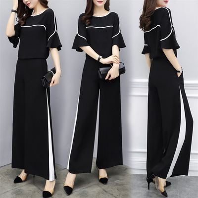 2019 new set women's summer dress two-piece pants chiffon short-sleeved high waist was thin wide leg pants casual fashion suit