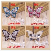 5Pieces 100*55mm butterfly Crystal Rhinestone Embellishments Button Flatback for Cloth Hair Accessories
