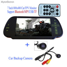 Bluetooth MP5 TF USB 800*480 Car Mirror Monitor 7 inch screen + backup parking waterproof Wide angel Rear view Camera PAL/NTSC